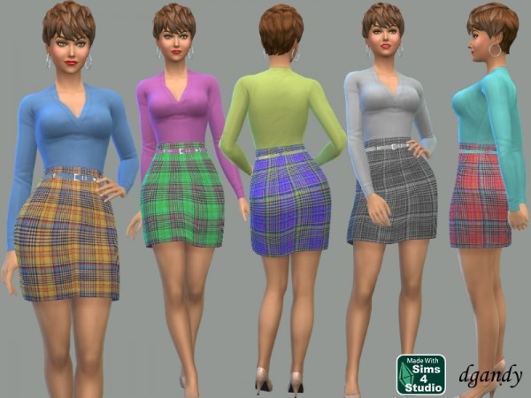 The Sims Resource: Plaid Skirt with Knit Top by dgandy