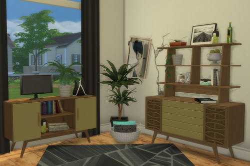 Chillis Sims: BuffSumm`s 1950′s Livingroom: 2 Sideboards and Upper Shelf