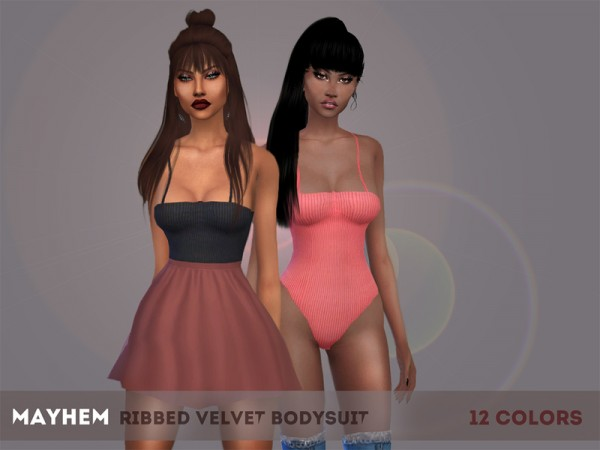 The Sims Resource: Ribbed Velvet Bodysuit by mayhem sims