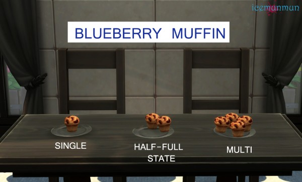Mod The Sims: Blueberry Delights   Cheesecake and Muffin by icemunmun