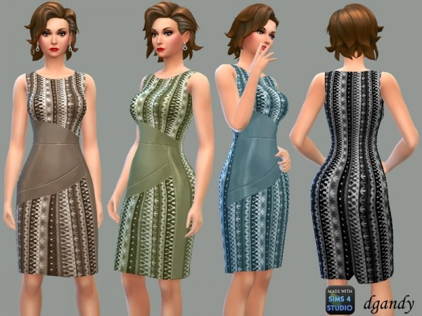 The Sims Resource: Pencil Dress with Leather Accents by dgandy