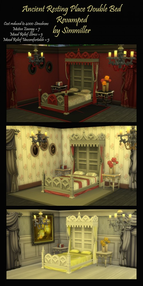 Mod The Sims: Ancient Resting Place Double Bed Revamped by Simmiller