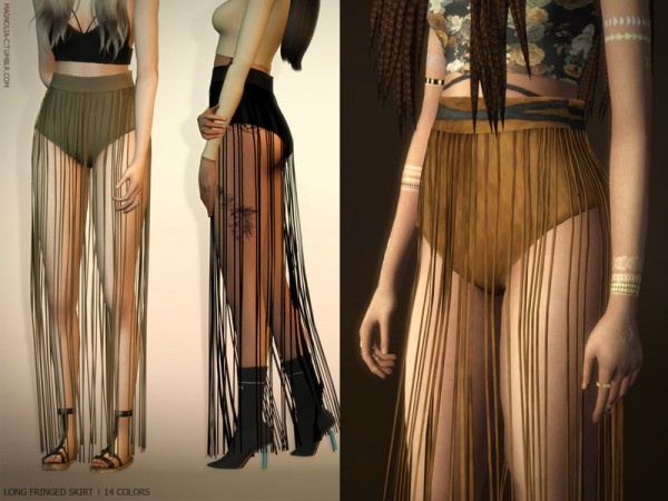 The Sims Resource: Long Fringed Skirt by magnolia cc