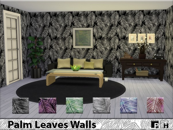 The Sims Resource: Palm Leaves Walls by Pinkfizzzzz