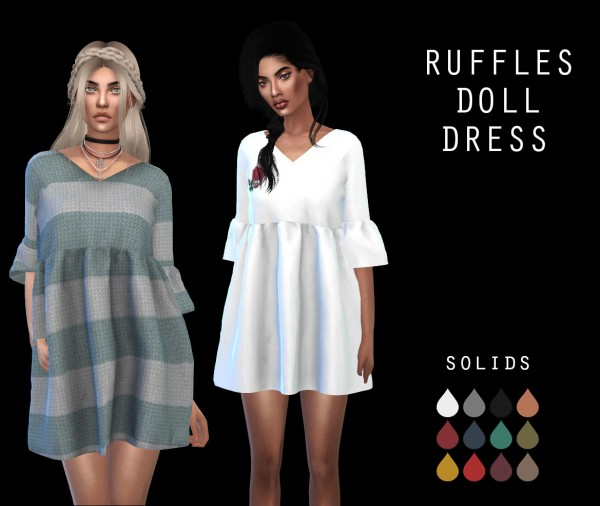 Leo 4 Sims Ruffle Doll Dress Recolor Sims 4 Downloads