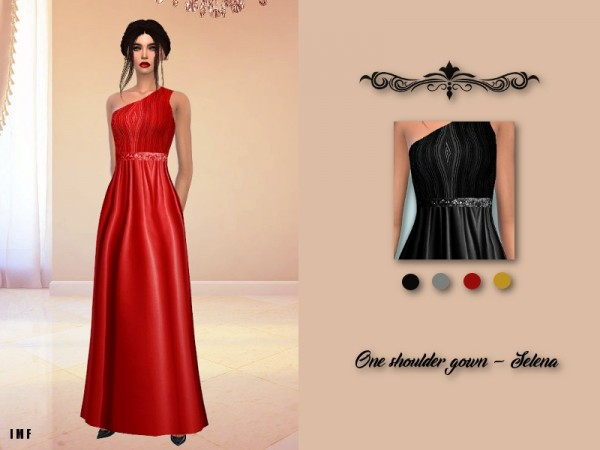 The Sims Resource: One Shoulder Gown   Selena by IzzieMcFire
