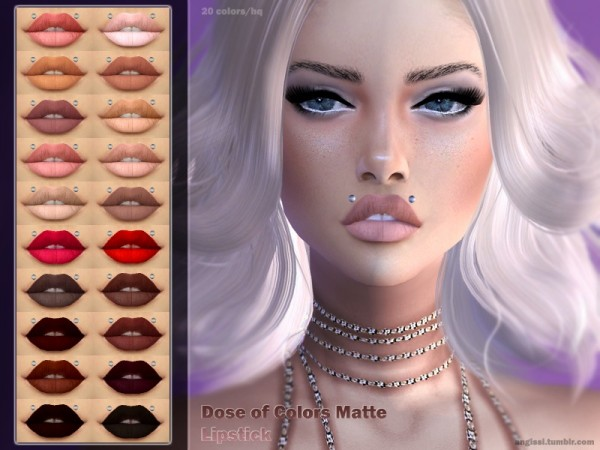 The Sims Resource: Dose of Colors Matte Lipstick by ANGISSI