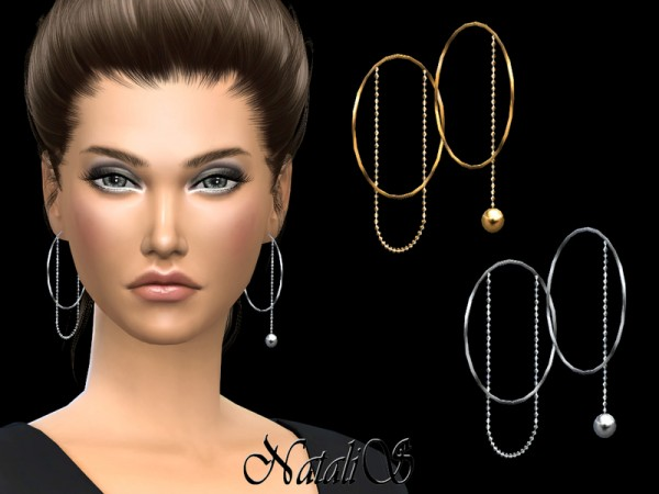 The Sims Resource: Asymmetric hoop earrings with chain by NataliS