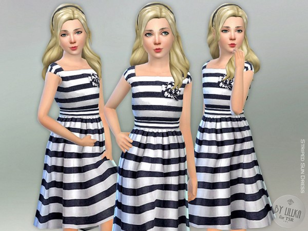 The Sims Resource: Striped Sun Dress by lillka