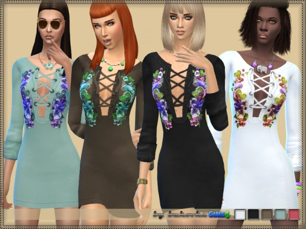 The Sims Resource: Dress and Embroidery by bukovka