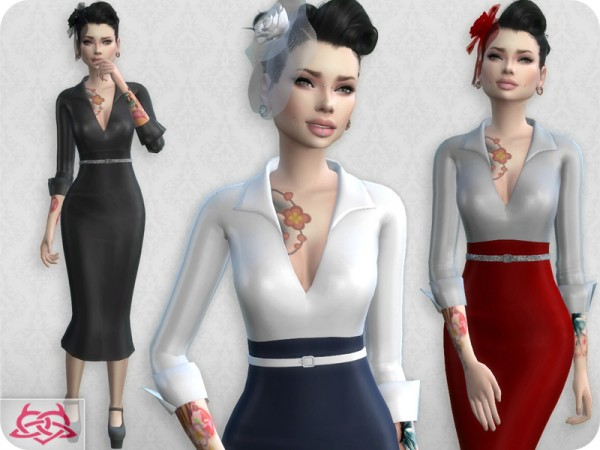 The Sims Resource: Set Blouse and Skirt recolor 5 by Colores Urbanos