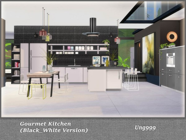 The Sims Resource: Gourmet Kitchen Black and White Version by ung999