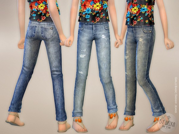 The Sims Resource Girls Basic Skinny Jeans By Lillka