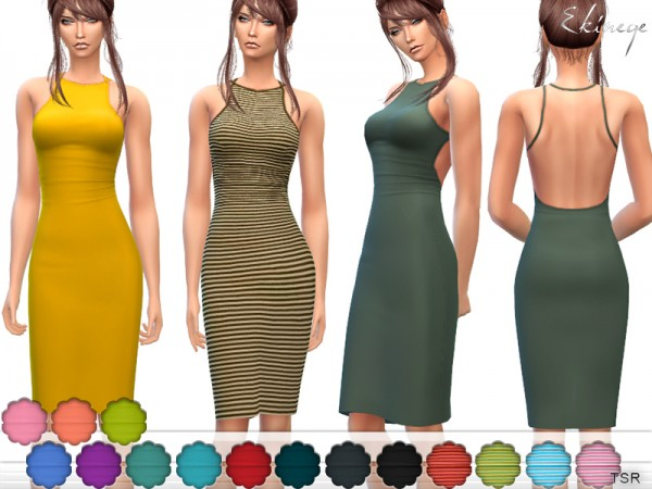 The Sims Resource: Open Back dress by ekinege