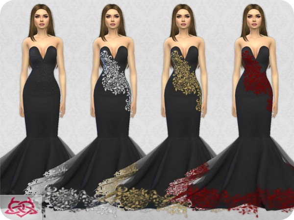 The Sims Resource: Wedding Dress 8 recolor 3 by Colores Urbanos