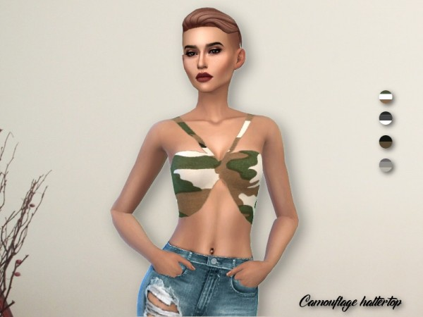 The Sims Resource: Camouflage Haltertop by IzzieMcFire