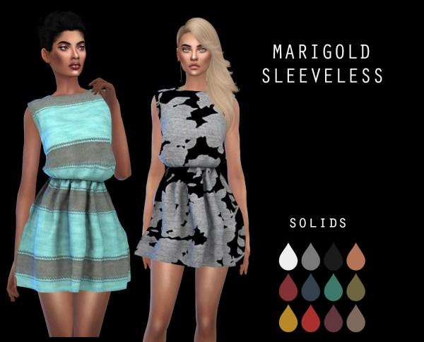 Leo 4 Sims: Marigold`s Sleeveless Dress recolored
