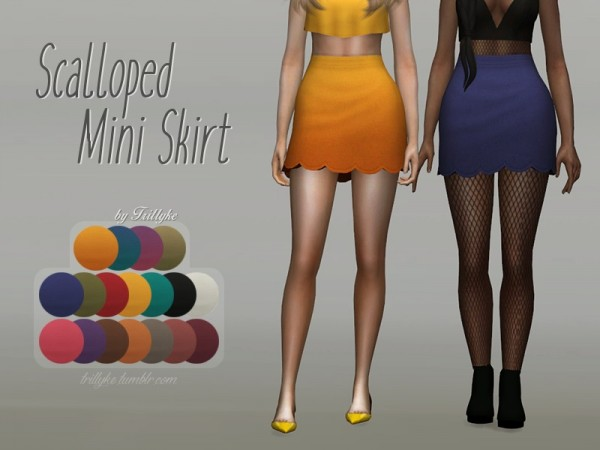 The Sims Resource: Scalloped Mini Skirt by Trillyke