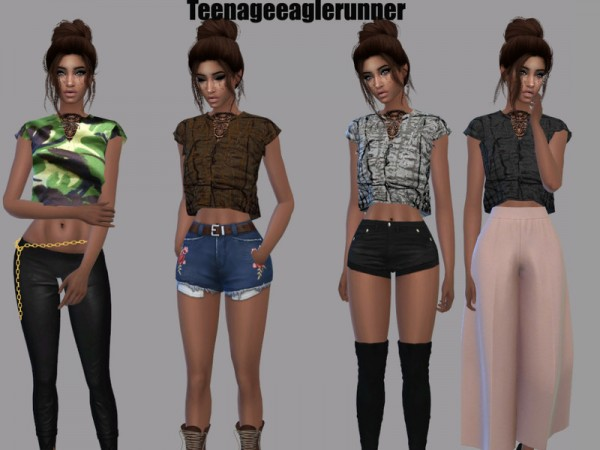 The Sims Resource: Bow Blouse Recolored by Teenageeaglerunner