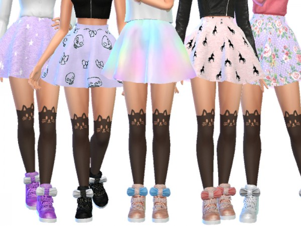 The Sims Resource: Pastel Gothic Skirts Pack Four by ...