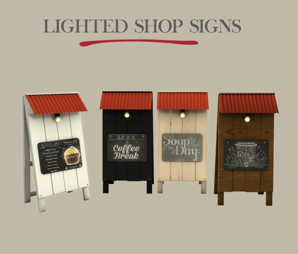 Leo 4 Sims: Lighted Shop Signs