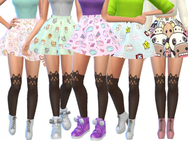 The Sims Resource: Pastel Gothic Skirts Pack Four by Wicked Kittie