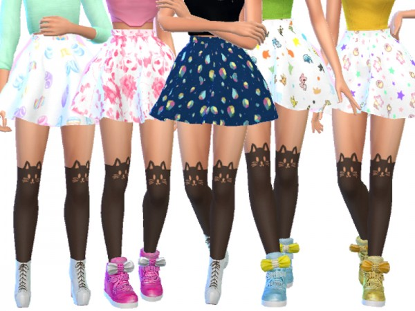 The Sims Resource Pastel Gothic Skirts Pack Four By