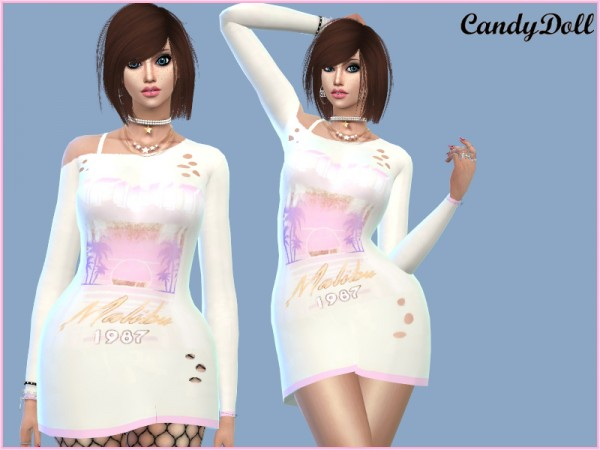 The Sims Resource: 1987 Designer Dress by CandyDolluk