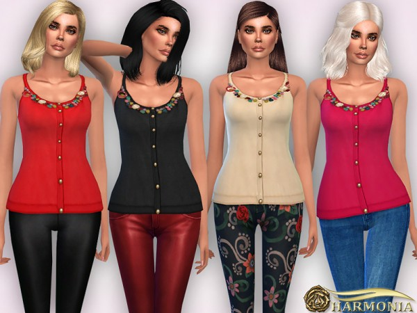 The Sims Resource: Bead Embellished Neck Knit Blouse by Harmonia