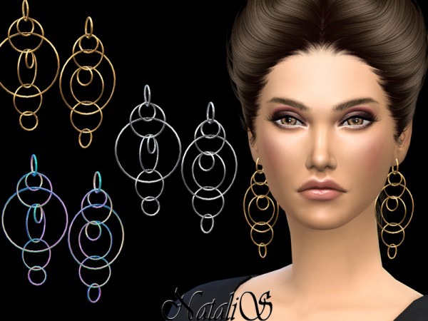 The Sims Resource: Long multiple hoops earrings by NataliS