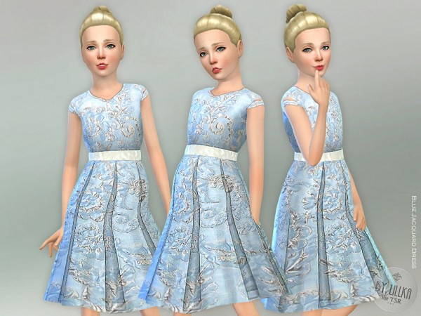 The Sims Resource: Blue Jacquard Dress by lillka