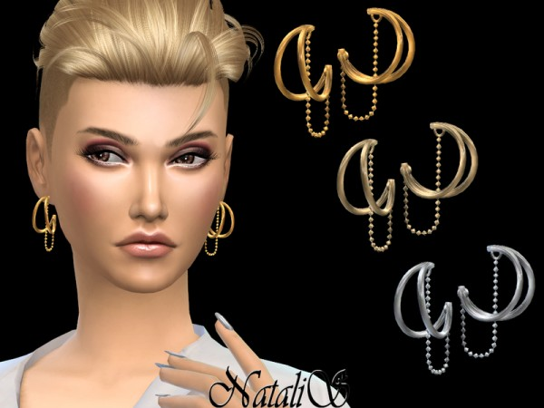 The Sims Resource: Double Hoop and Chain Earrings by NataliS