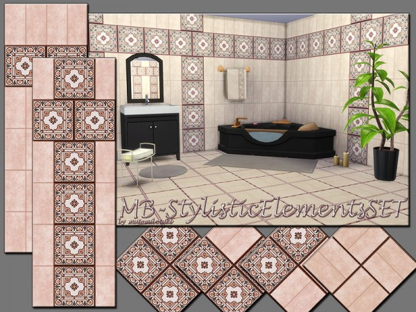 The Sims Resource: Trendy Tile Stylistic Elements SET by matomibotaki