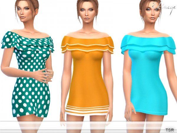 The Sims Resource: Off The Shoulder Frill Dress by ekinege