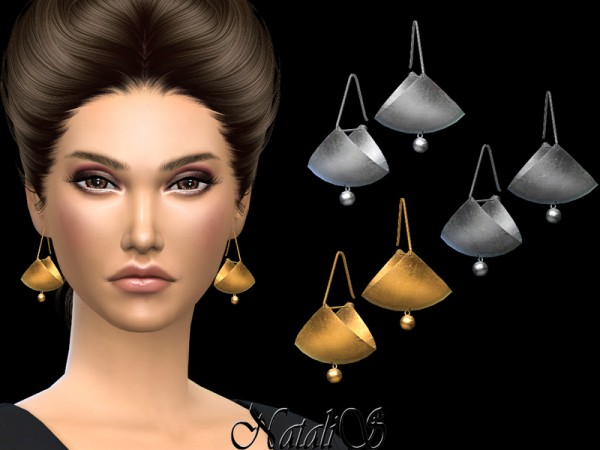 The Sims Resource: Fan drop earrings by NataliS