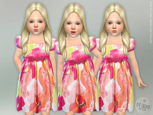 The Sims Resource: Poppy Floral Dress for Toddler by lillka