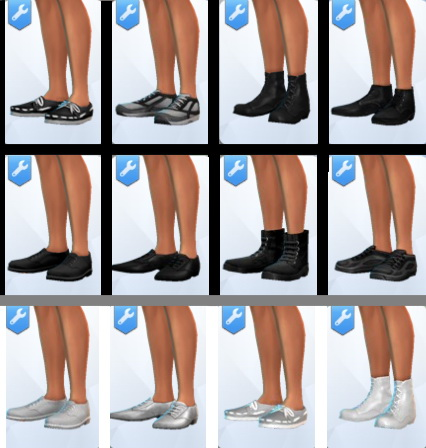 Mod The Sims: Shoes in true Black and White by NWire