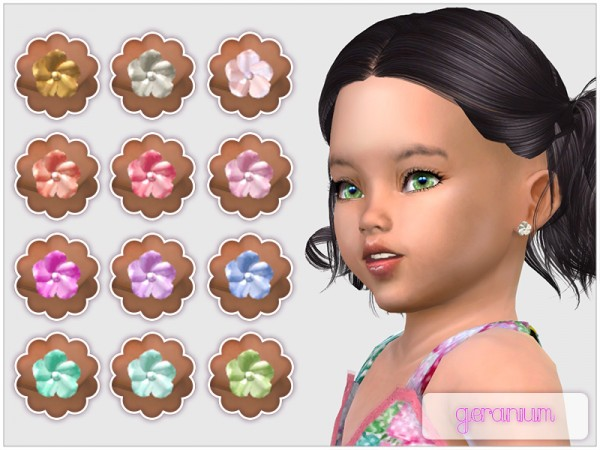 The Sims Resource: Geranium Studs For Toddlers by feyona