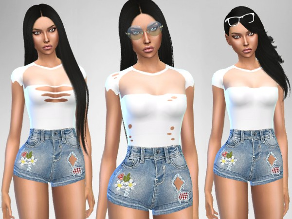 The Sims Resource: White and Denim Outfit by Puresim