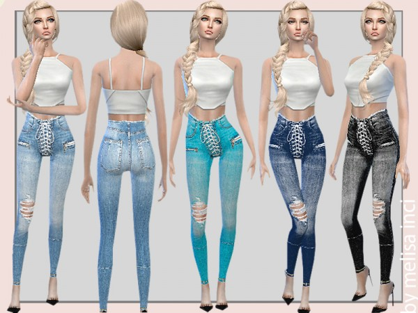 The Sims Resource: Stretch Denim Lace Up Skinny Jeans by melisa inci