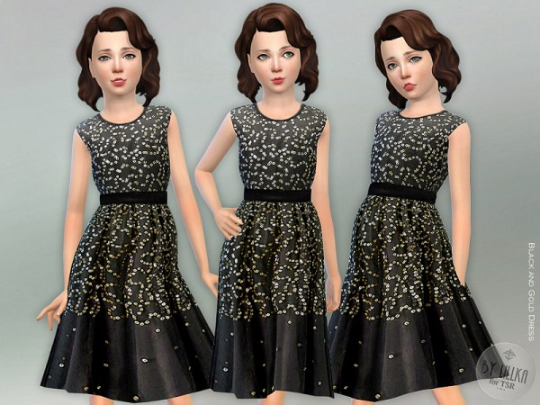 The Sims Resource: Black and Gold Dress by lillka