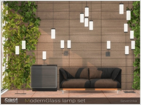 The Sims Resource: Modern Glass lamp set by Severinka