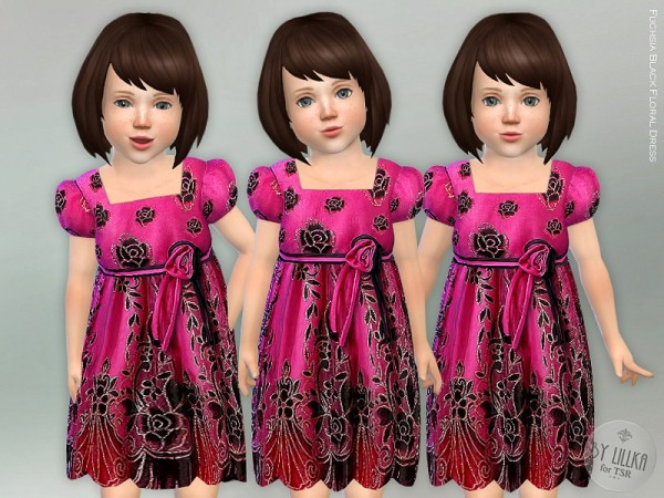 The Sims Resource: Fuchsia Black Floral Dress by lillka