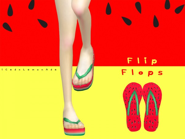 The Sims Resource: Watermelon High Flip Flops by iCedxLemonAde