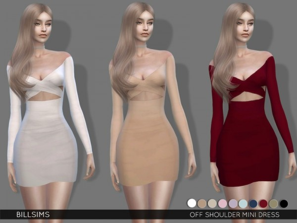 The Sims Resource: Off Shoulder Mini Dress by Bill Sims
