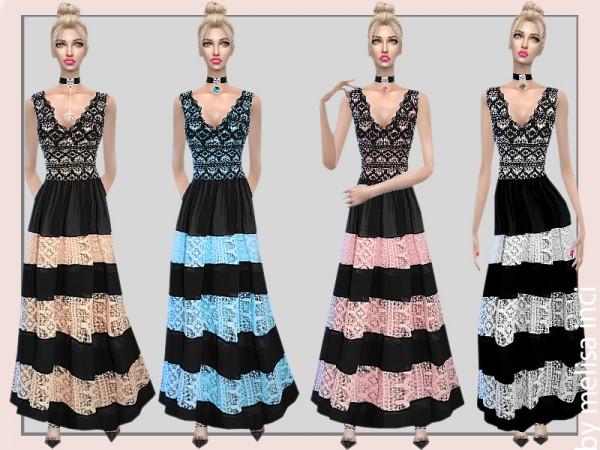 The Sims Resource: Chiffon Lace Maxi Dress by melisa inci