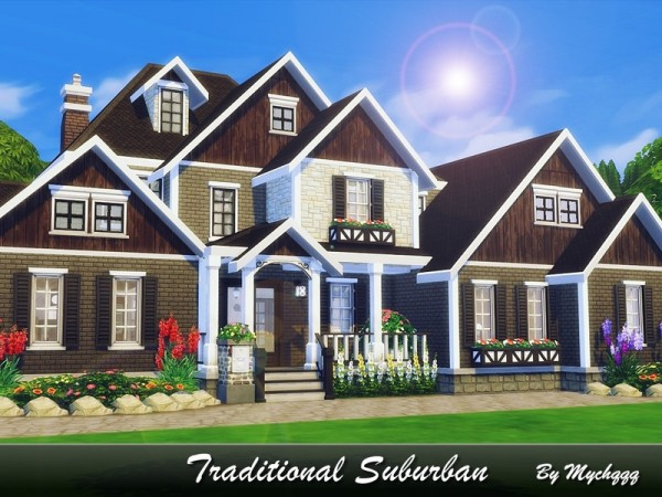 The Sims Resource: Traditional Suburban house by MychQQQ