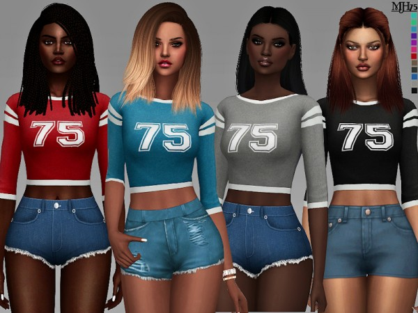 The Sims Resource: Vila Varsity Tops by Margeh 75