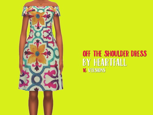 Simsworkshop: Off The Shoulder Dress recolored by heartfall