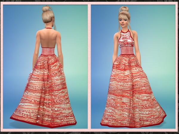 The Sims Resource: Halter Long Full Designer Gown by Five5Cats